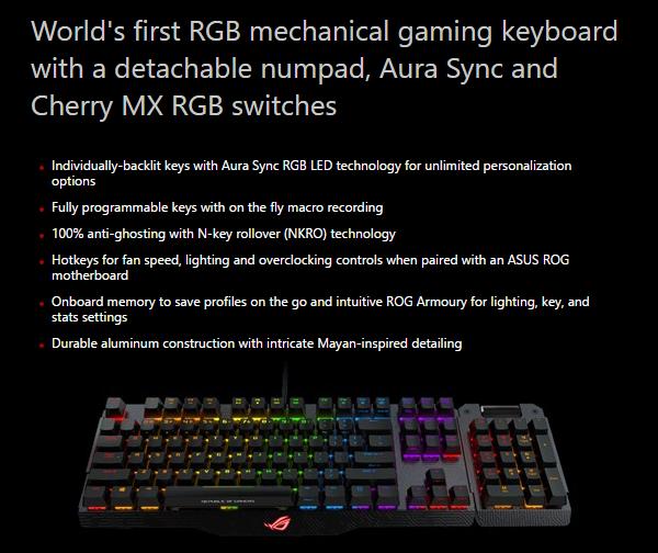 op het eerste gezicht een redelijk bekend overzicht voor een mechanisch toetsenbord we zien rgb verlichting met lichteffecten die vanaf het toetsenbord