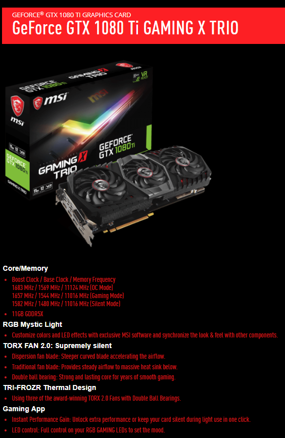 MSI GeForce GTX 1080 Ti Gaming X Trio review | Techtesters