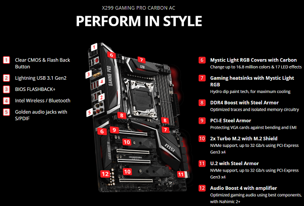 MSI X299 Gaming Pro Carbon review | Techtesters